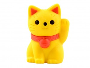 Eraser - yellow maneki neko