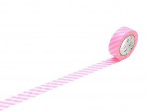 Taśma washi masking tape mt - Stripe Shoking Pink