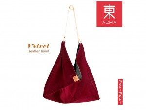 AZMA Velvet Wine Red bag